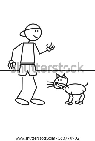 Stick figure of a boy with his cat