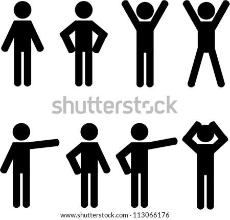 Stick figure positions set vector - stock vector