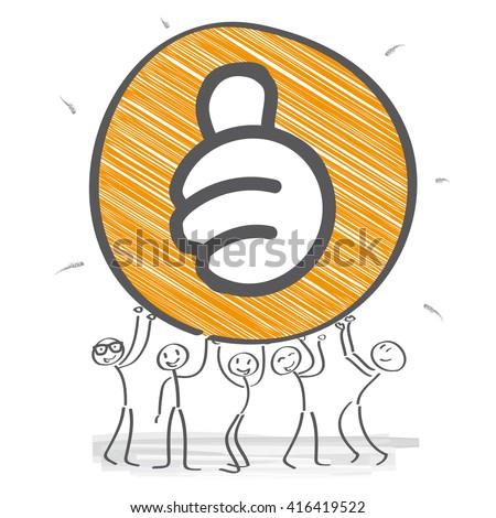 Stick figure team motivated - vector illustration - stock vector