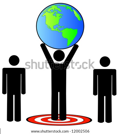 stick figure team standing on target holding the earth - vector - stock vector