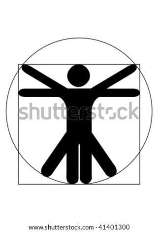 Stick figure vector as Leonardo Da Vinci´s Vitruvian Man. Symbol for anatomy - stock vector