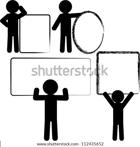 Stick figure with blank text box - stock vector