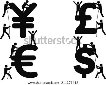stick figures Climbing Money sign - stock vector