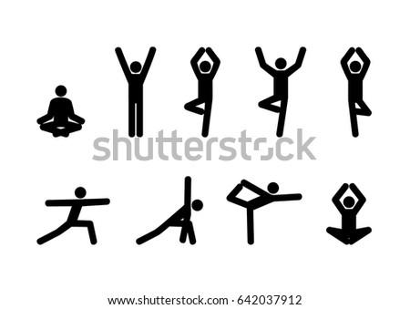 Stick Figures Set Yoga Pose Vector Stock Vektörü 642037912 ...