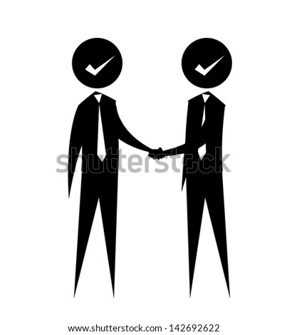 stick figures - shake hands - stock vector