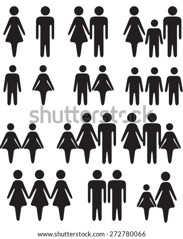 Stick Figures Silhouettes Black and White - stock vector