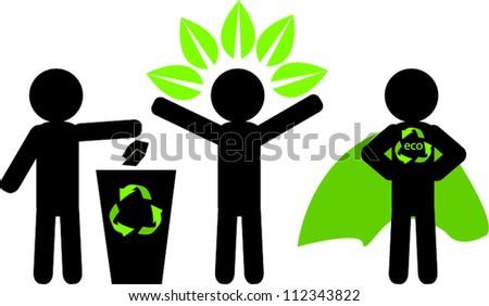 Stick man figure with eco stuff - stock vector