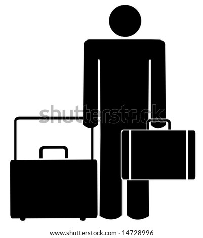 stick man or figure with briefcase and luggage - stock vector