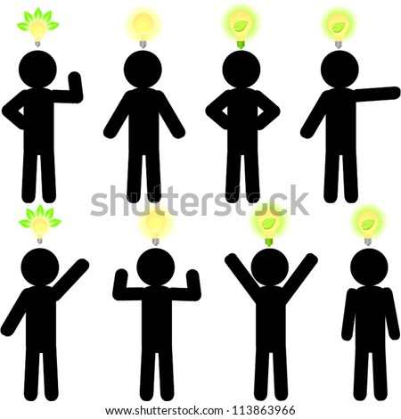 Stick man with eco light bulb - stock vector
