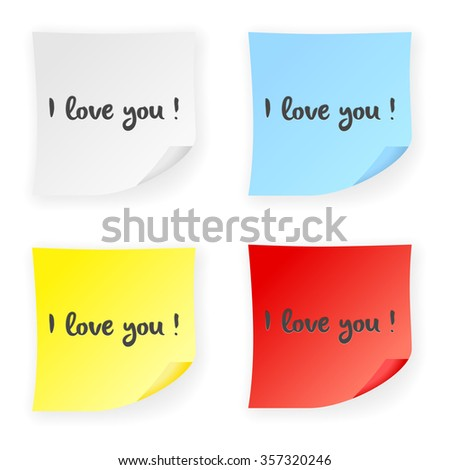 Stick note I love you on a white background. Vector illustration.