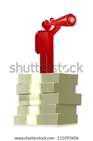 Stick Person Looking for Money - stock vector