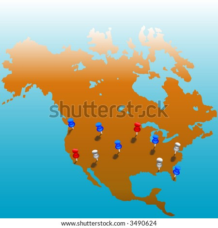 Stick Pins In The Us Map Of America Color Tacks On Layers For Easy