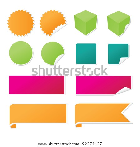 Sticker and Banner Set isolated on white EPS 8 vector, no open shapes or paths, grouped for easy editing. - stock vector