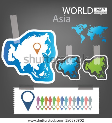 Sticker asia world map vector illustration stock vector 150393902 sticker asia world map vector illustration gumiabroncs Images