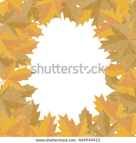 Sticker autumn style. Yellow falling leaves vector. Greeting card vector. Space for text. Photo album.