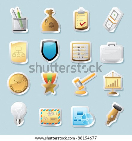 Sticker button set. Icons for business and finance. Vector illustration.