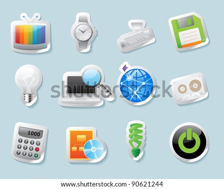 Sticker button set. Icons for technology and devices. Vector illustration. - stock vector