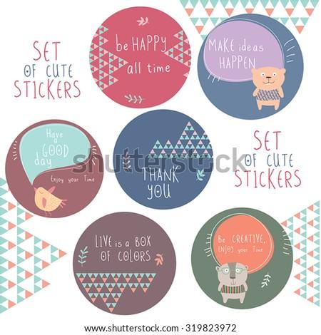 Sticker cute kids design. - stock vector