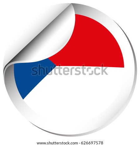 Sticker design for chile flag illustration