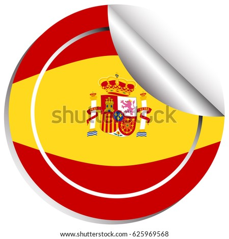 Sticker design for flag of spain illustration