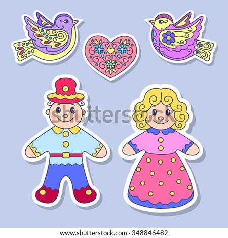 Sticker, element for design, children's illustration, vector illustration, dolls, girl, boy, heart, birds decor, love - stock vector