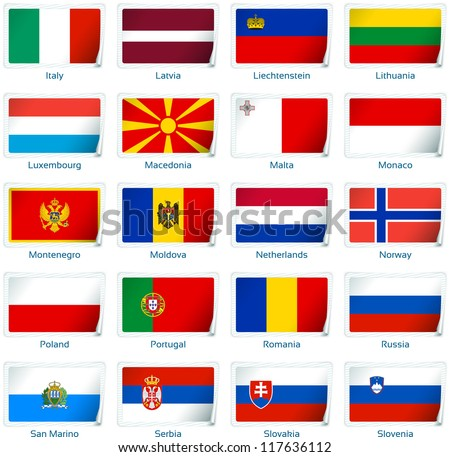 Sticker flags: Europe (2 of 3). Vector illustration: 3 layers:  �· shadows  �· flat flag (you can use it separately)  �· sticker. Collection of 220 world flags. Accurate colors. Easy changes. - stock vector