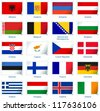 Sticker flags: Europe (1 of 3). Vector illustration: 3 layers:  �· shadows  �· flat flag (you can use it separately)  �· sticker. Collection of 220 world flags. Accurate colors. Easy changes. - stock photo