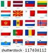 Sticker flags: Europe (2 of 3). Vector illustration: 3 layers:  �· shadows  �· flat flag (you can use it separately)  �· sticker. Collection of 220 world flags. Accurate colors. Easy changes. - stock photo