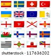 Sticker flags: Europe (3 of 3). Vector illustration: 3 layers:  �· shadows  �· flat flag (you can use it separately)  �· sticker. Collection of 220 world flags. Accurate colors. Easy changes. - stock vector
