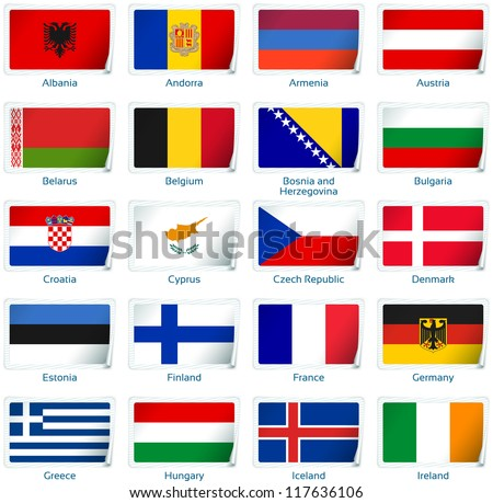 Sticker flags: Europe (1 of 3). Vector illustration: 3 layers:  �· shadows  �· flat flag (you can use it separately)  �· sticker. Collection of 220 world flags. Accurate colors. Easy changes.