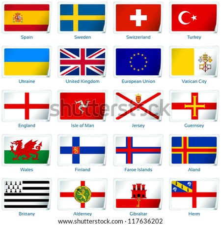 Sticker flags: Europe (3 of 3). Vector illustration: 3 layers:  �· shadows  �· flat flag (you can use it separately)  �· sticker. Collection of 220 world flags. Accurate colors. Easy changes.
