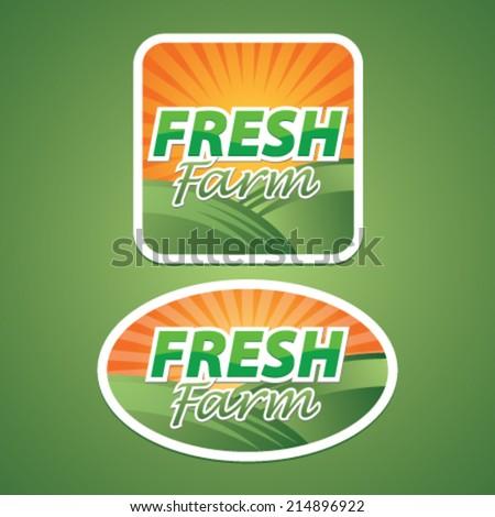 Sticker, Icon or Label for Fresh Farm - stock vector