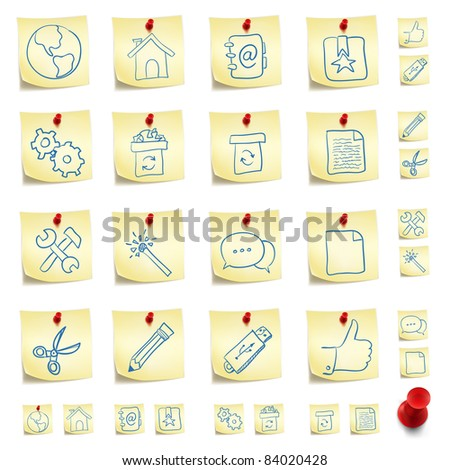 Sticker Icon Set Isolated on White Background. Vector EPS8. - stock vector