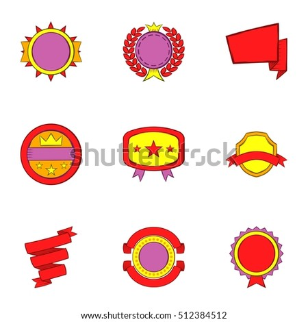 Sticker icons set. Cartoon illustration of 9 sticker vector icons for web