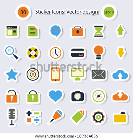 sticker icons.Vector design - stock vector