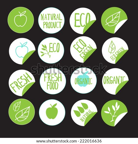 sticker label natural products. line icon