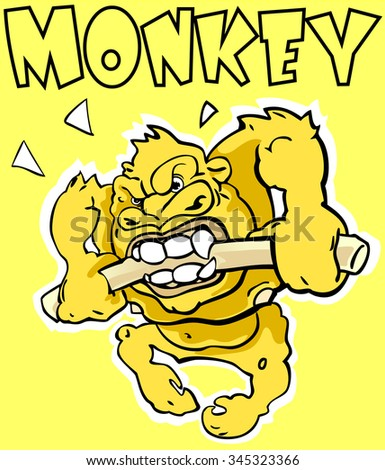 Sticker. Monkey. Angry gorilla breaking the stick.