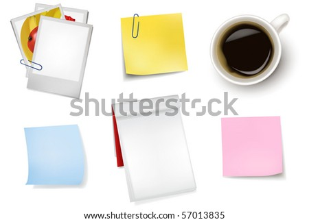 Sticker notes and a cup of coffee. Photo-realistic vector. - stock vector