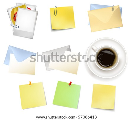 Sticker notes and a envelopes. Photo-realistic vector. - stock vector