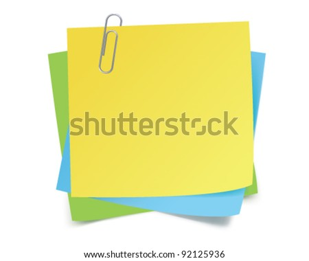 Sticker notes and clip. Vector