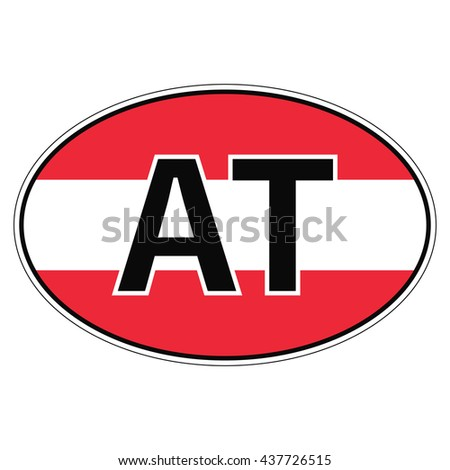 Sticker on car flag austria the inscription at vector for print or website design for