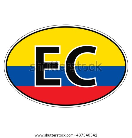 Sticker on car, flag Ecuador the inscription EC vector for print or website design for language buttons - stock vector