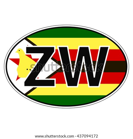 Sticker on car flag zimbabwe the inscription zw vector for print or website design for