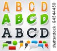 Sticker or label style alphabet - stock vector