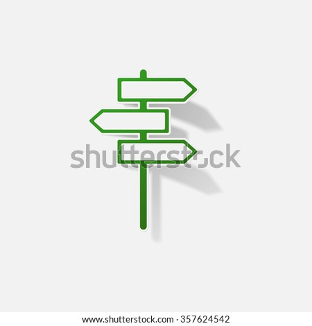 Sticker paper products realistic element design illustration road sign - stock vector