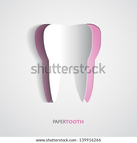 Sticker Pink paper Tooth On White Background - Vector Illustration - stock vector