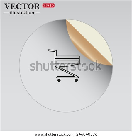 Sticker self-adhesive paper.  Shoping basket , vector illustration, EPS 10