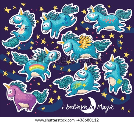 Sticker set of cute cartoon unicorn with rainbow and stars