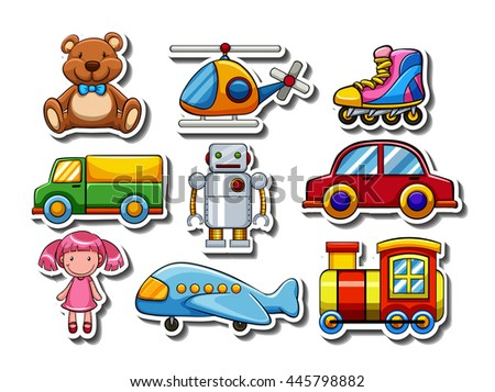 Sticker set of many toys illustration