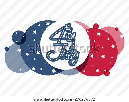 Sticker, tag or label for 4th of July, American Independence Day celebration on abstract national flag color background. - stock vector